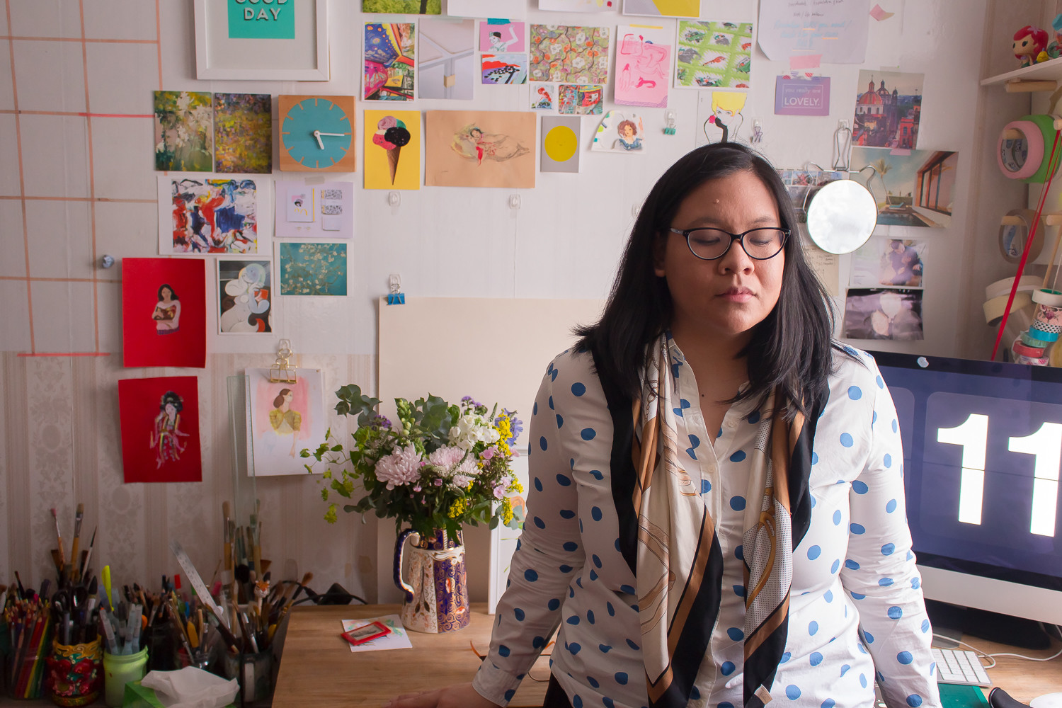 Photo of June Sees at her studio, Spring 2017