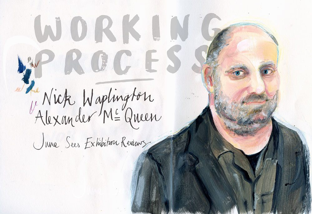 An illustrated portrait of Nick Waplington /Alexander McQueen: Working Process: Photography Exhibition at Tate Britain
