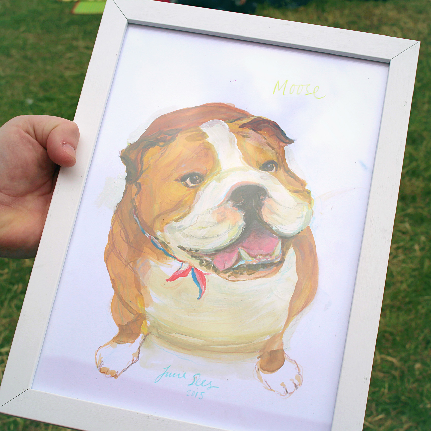 I painted a portrait of an English Bulldog. In the Rain…
